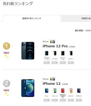 ドコモiPhone12/iPhone12 Pro発売初週の販売ランキング発表  みんなが買ったモデルは?