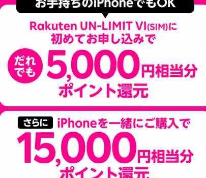 [最大2万円還元]楽天モバイルiPhone発売記念キャンペーン特典が貰えない・対象外になる条件や罠