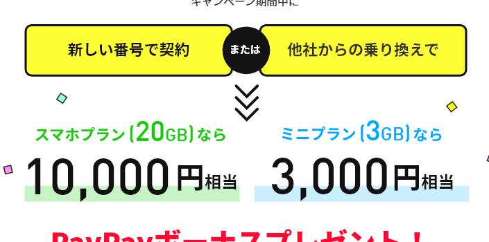 新料金ブランドプラン最安990円のラインモ ミニプランでもキャンペーン特典貰えるように変更